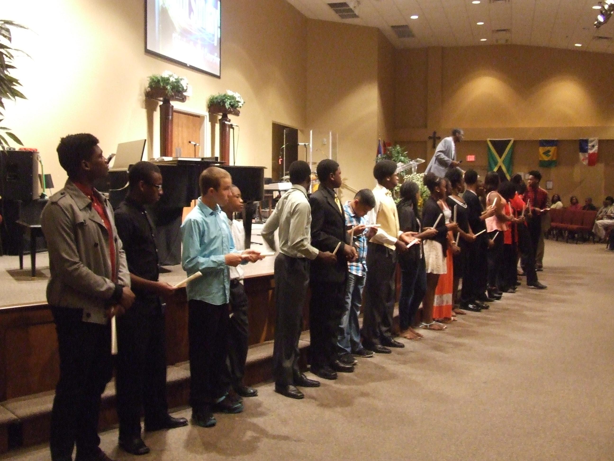 Teens receiving awards