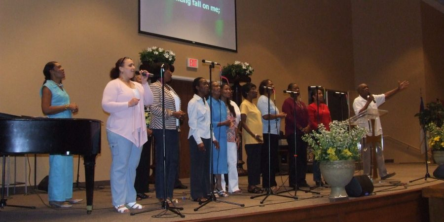 Choir singing on stage