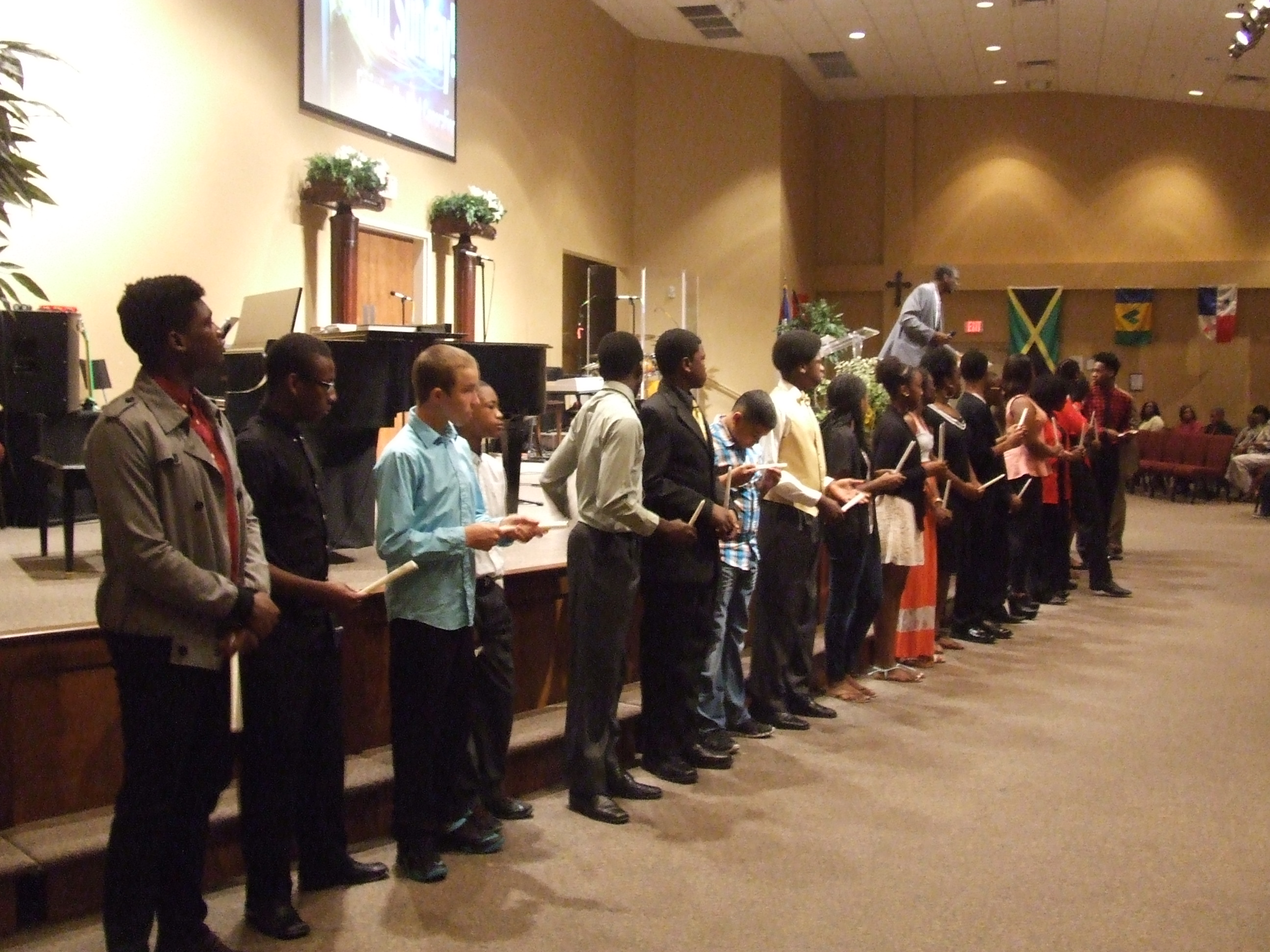 Teens receiving awards