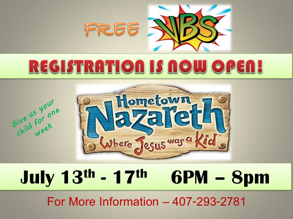 vacation bible school flyer for July 13th 2015