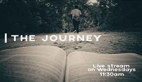 Logo for the journey bible study. It shows a man walking away into the bushes. He is wearing light colored shirt, dark colored pants and sports shoes. He also has a computer bag with a long strap hanging off his right shoulder and resting on his buttocks.