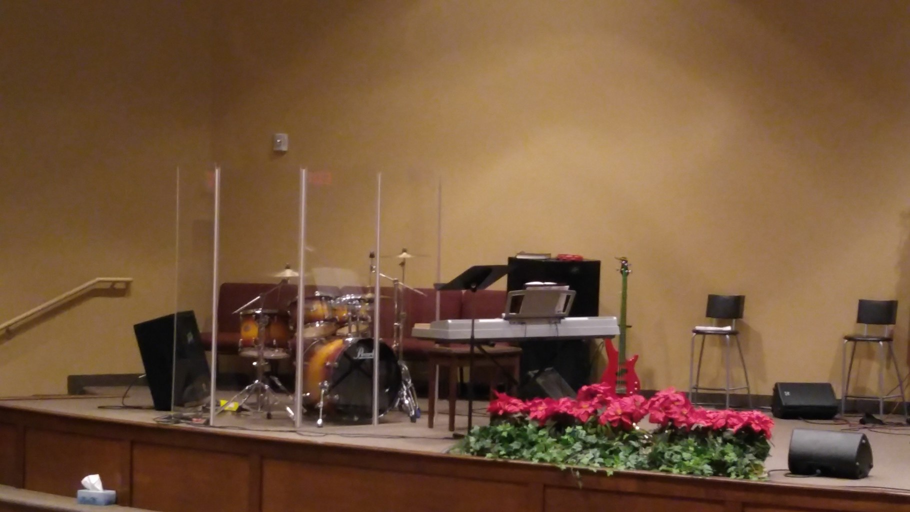 Podium showing drum set