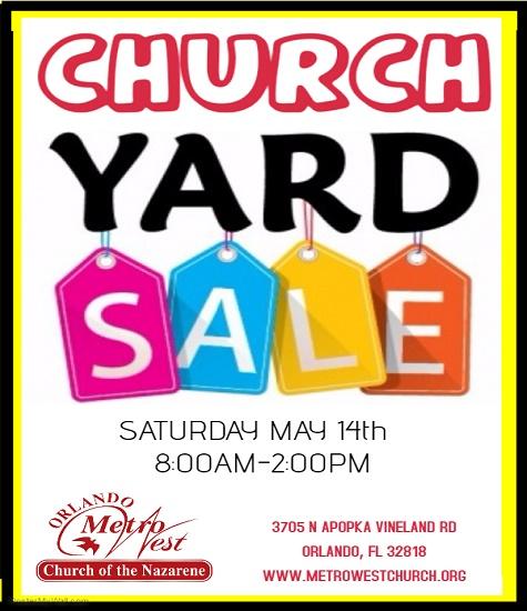 church yard sale May 14th 8a.m.-2p.m.