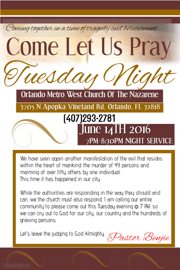 Flyer for Tuesday Night 6-14-16 Prayer Service for the city of Orlando and grieving families.